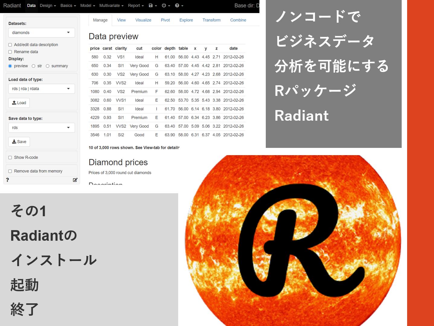 ノンコードでビジネスデータ分析を可能にするRパッケージRadiant<br>その1(Radiantのインストール・起動・終了)