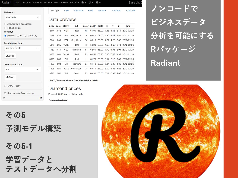 ノンコードでビジネスデータ分析を可能にするRパッケージRadiant<br>その5-1(予測モデル構築 – 学習データ・テストデータ分割)