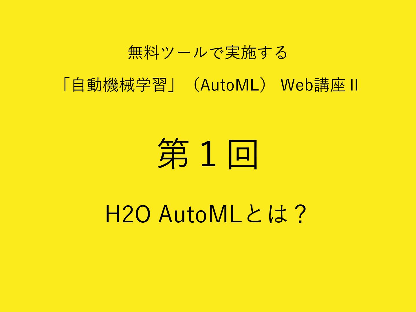 H2O AutoML とは?